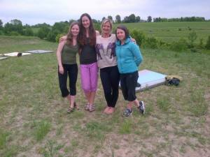 The Yogis: Christina Harvey-Klein, Jenn Apple Pridham, Jenny Jackson Hall, and Jenni Burke.